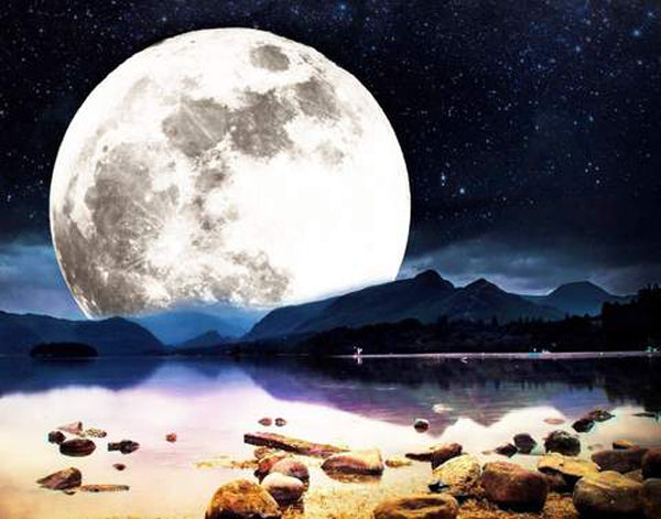 Diamond Painting Moonlight Lake Scenery