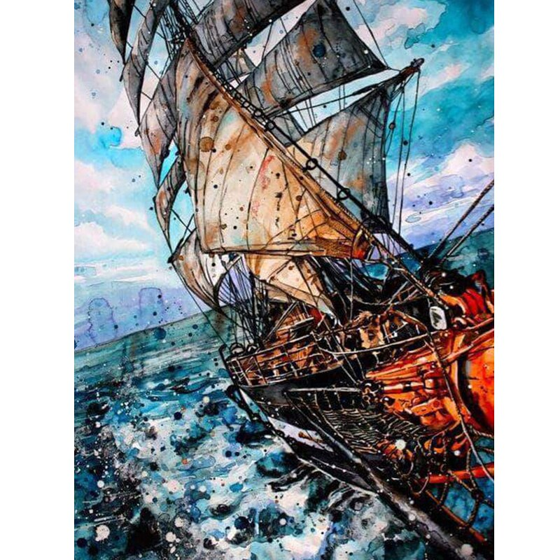 Full Drill Square 5D DIY Diamond Painting Cross Stitch Sailboat Diamond Embroidery Landscape Picture Of Rhinestone Decor Home