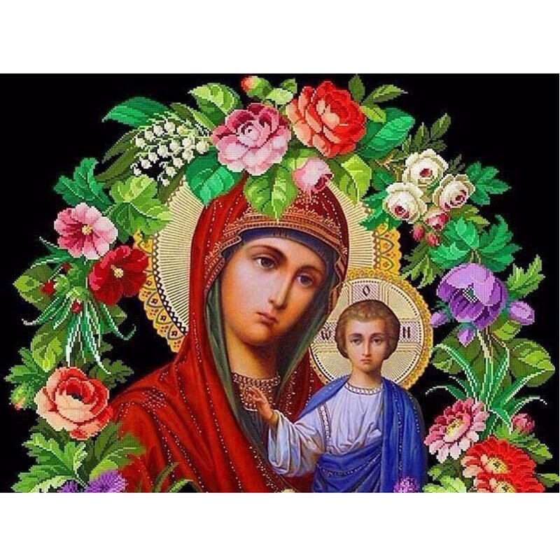 "Full Round/Square 5D DIY Diamond Painting ""Religion Flowers"" Embroidery Cross Stitch Rhinestone Mosaic Painting Decor Gift"