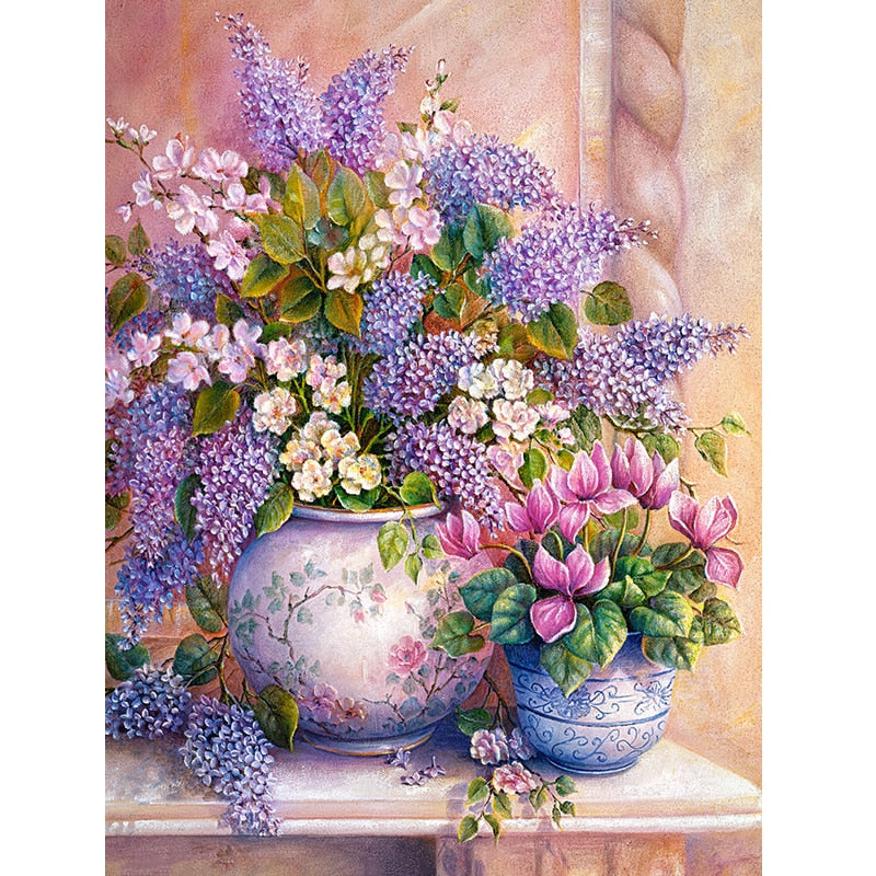 5D DIY Diamond Painting Purple Lavender Vase Crystal Cross Stitch Set Diamond Embroidery Rhinestone House Decor