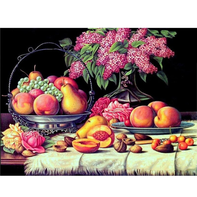 Diamond Embroidery Diamond Painting Full Square Crystal Mosaic Picture Of Rhinestone Fruit Kitchen Wall Decor