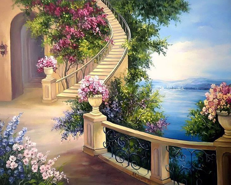5D DIY Diamond Painting landscape seaside villa Cross Stitch 3D Diamond  Scenery diamond Embroidery Christmas gift