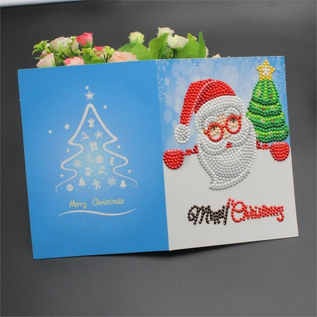 Diamond Painting Cartoon Mini Santa Claus Merry Christmas Paper Greeting Postcards Craft DIY Kids Festival Greet Cards