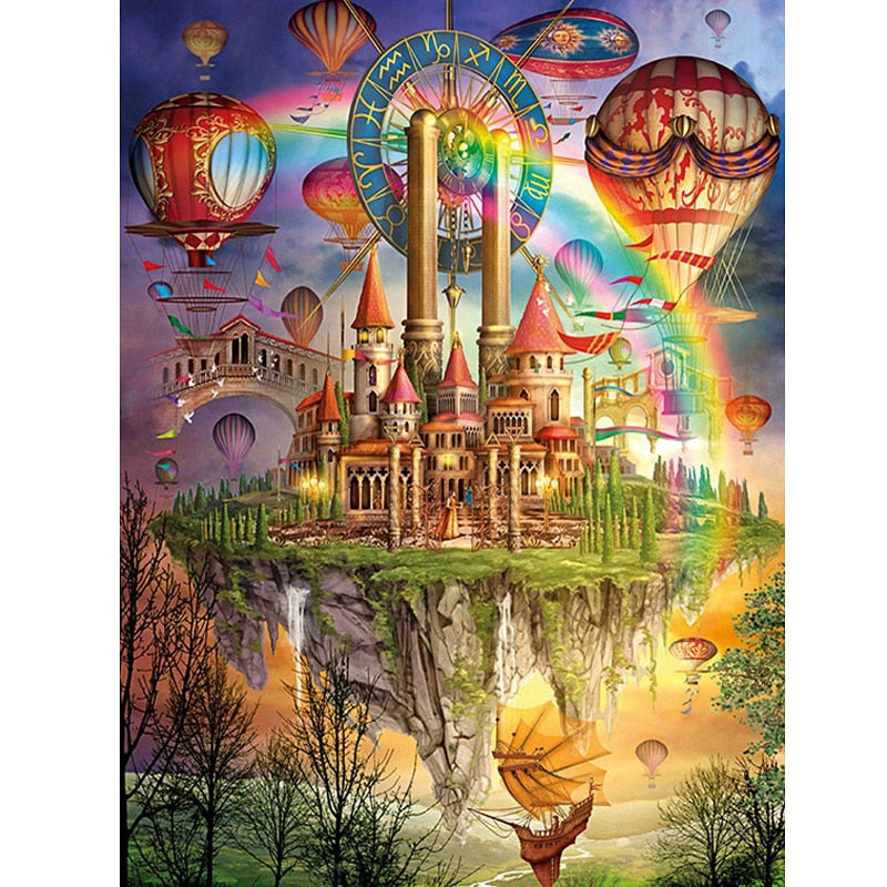 Diamond Painting Cartoon Castle Picture Of Rhinestones Mosaic Balloon