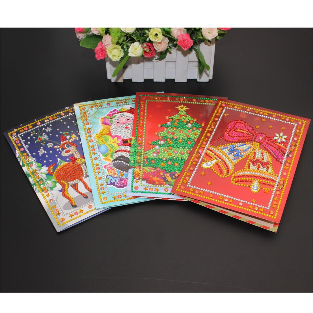 5D DIY Special-shape Cards Xmas Tree Diamond Painting Cartoon Santa Claus Merry Christmas Paper Greeting Postcards Craft