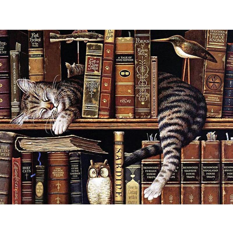 Diamond Embroidery Cartoon Round Drill Diamond Painting Rhinestones Mosaic Cat Sleeping Bookshelf Needlework Home Decoration