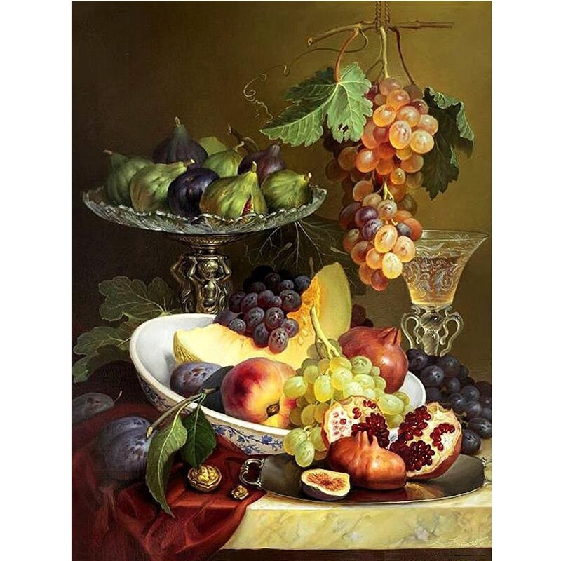 Fruit Diamond Embroidery Home Kitchen Wall Decor 5D Diamond Painting Cross Stitch Full Square Crystal Mosaic Picture Rhinestone