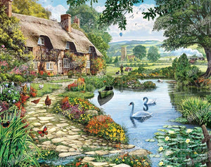 "Full Round Drill 5D DIY Diamond Painting ""Lakeside Cottage"" 3D Embroidery Cross Stitch 5D Home Decor"