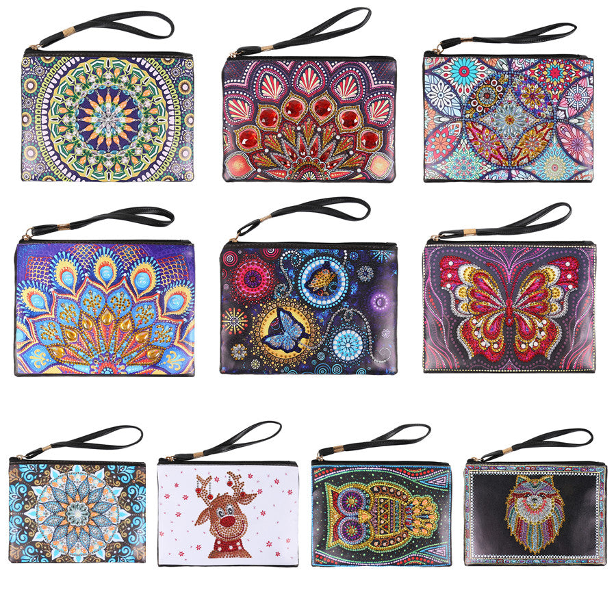 DIY Diamond Painting Handbag Special Shaped Cosmetic Storage Bag Wristlet Bags Diamond Painting Women Wallet Purse Craft Gift