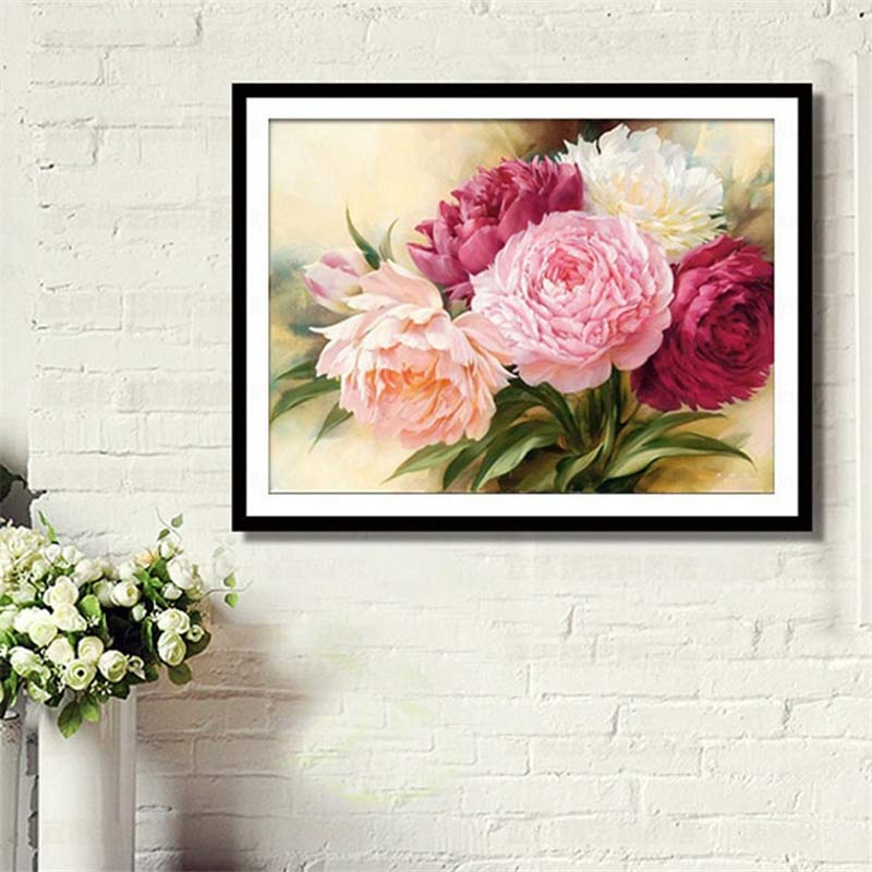 5D Full Diamonds Peony Flowers Embroidery Cross Stitch Kits Household Handmand DIY Decoration Crafts Material Package