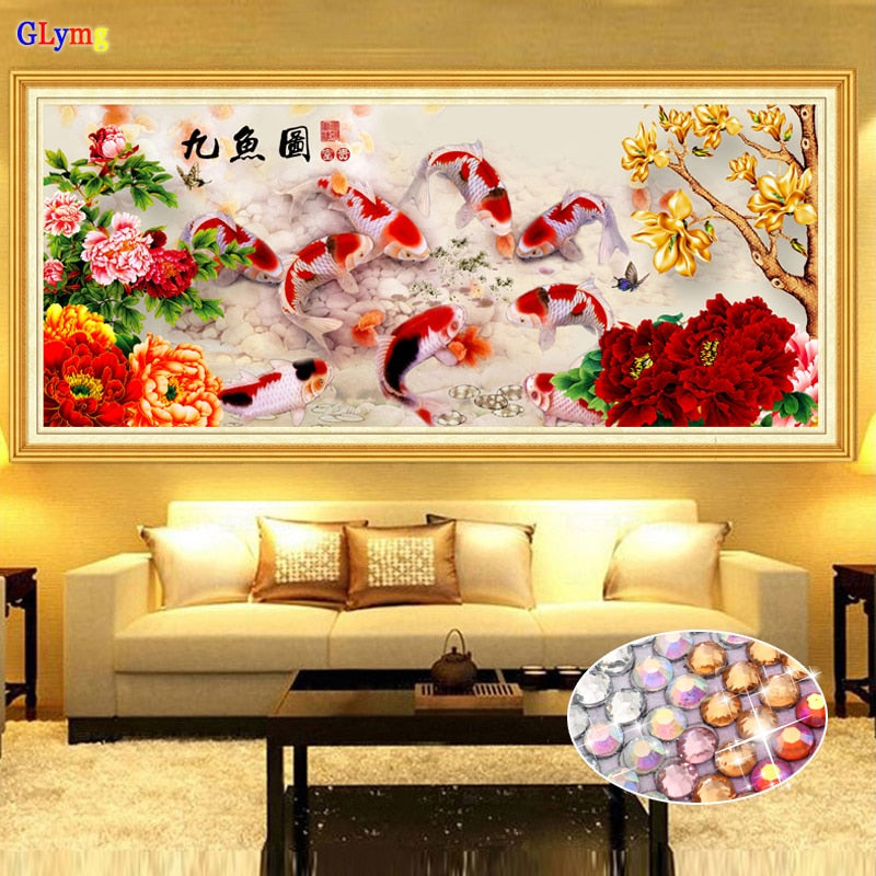 Diy Diamond Painting Nine Fish