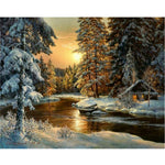 Diamond Painting Cross Stitch winter sunset landscape round rhinestone mosaic Picture 5D diamond embroidery snow tree icon XU