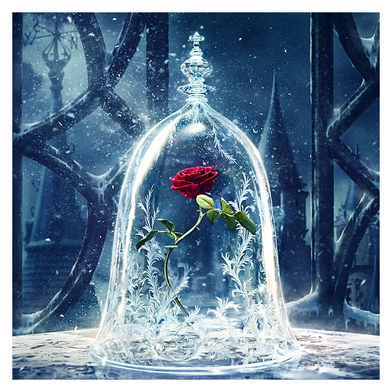 Diamond Embroidery DIY Diamond Painting Red Rose Flower Ice,beauty and beast, Diamond Painting Cross Stitch Rhinestone Decor XU