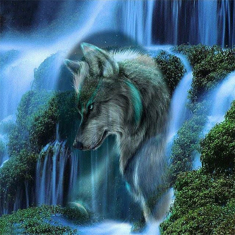 5d Diy Diamond Painting|Cross Stitch|Wolf Waterfall Scenery|Diamond Embroidery