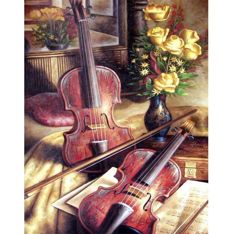 Rhinestones Embroidery DIY Diamond Embroidery Flower And Violin Mosaic Gift 5D Diamond Painting Diamond Wall Arts Decor