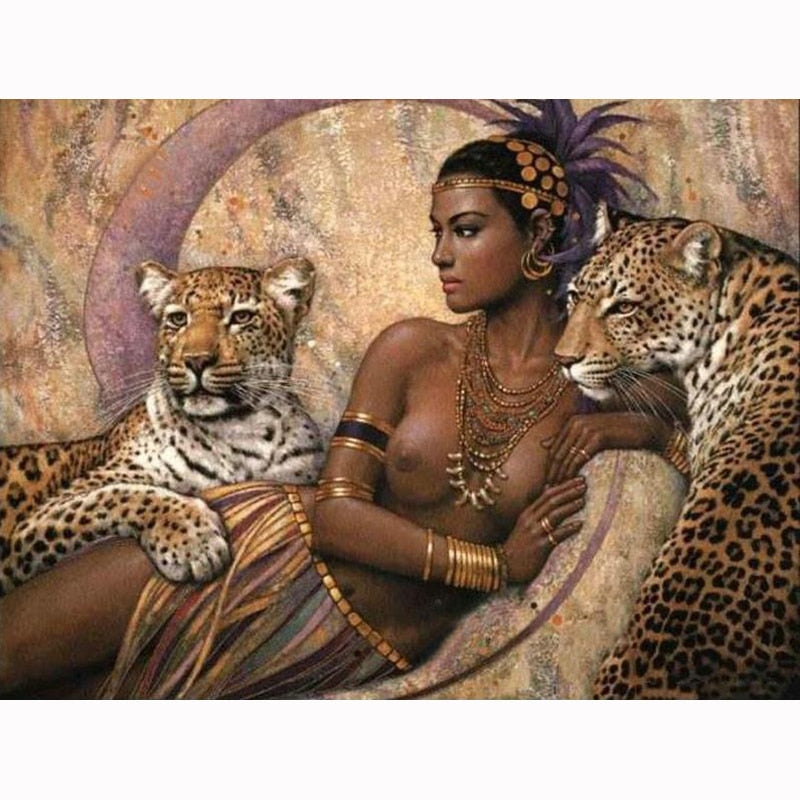 Full Square round 5D DIY Diamond Painting Naked Woman And Tigers Diamond Embroidery Cross Stitch Mosaic Sticker Gift
