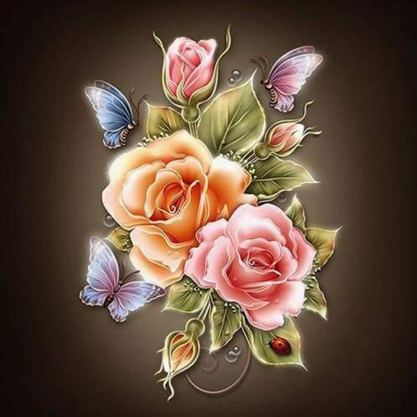 Diamond Painting Color Rose Flower