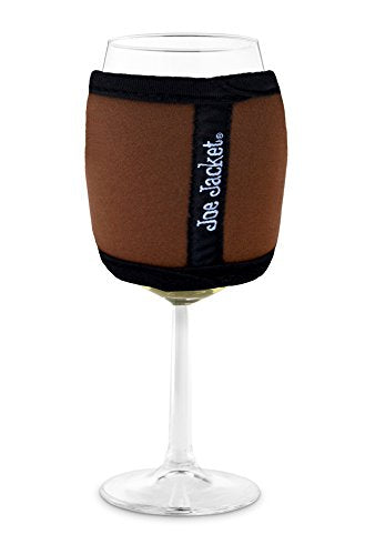 Joe Jacket Wine Glass Insulator, Neoprene Sleeve, Drink Holder - Brown (many colors avail.)