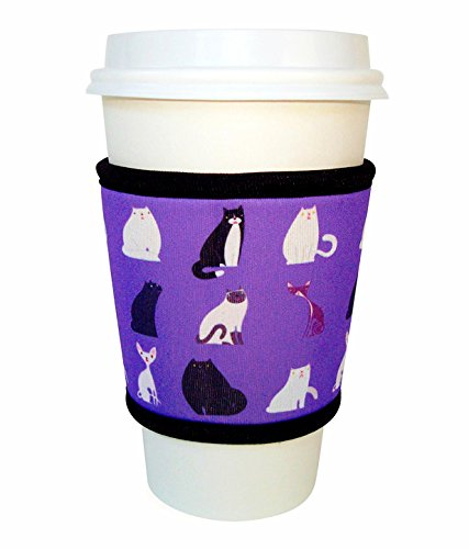 Joe Jacket Neoprene Drink Insulator, Coffee Sleeve, Cup Grip, Cats (many colors avail.)