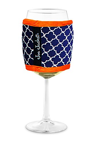 Joe Jacket Wine Glass Insulator, Neoprene Sleeve Drink Holder - Navy Quatrefoil (many colors avail.)
