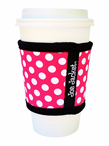 Joe Jacket Neoprene Drink Insulator, Coffee Sleeve, Cup Grip, Pink Polka Dot (many colors avail.)