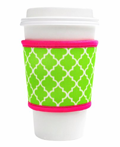 Joe Jacket Neoprene Drink Insulator, Coffee Sleeve, Cup Grip, Lime Moroccan Tile (many colors avail.