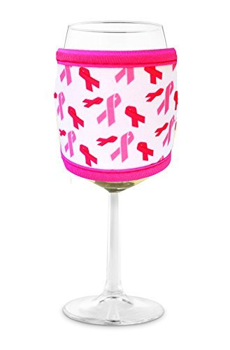 Joe Jacket Wine Glass Insulator, Neoprene Sleeve Drink Holder - Pink Awareness Ribbon