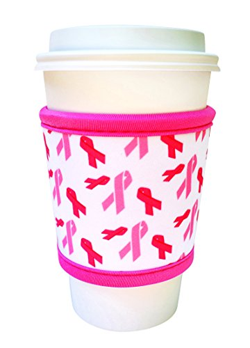 Joe Jacket Neoprene Drink Insulator Sleeve, Cup Grip, Pink Awareness Ribbon