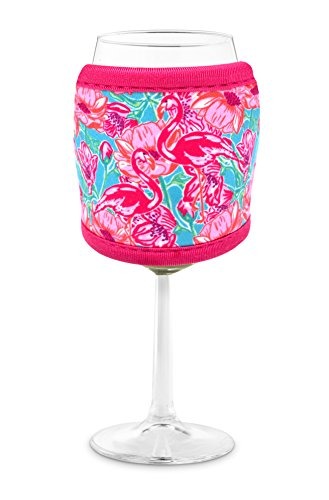 Joe Jacket Wine Glass Insulator, Neoprene Sleeve Drink Holder - Flamingos (many colors avail.)