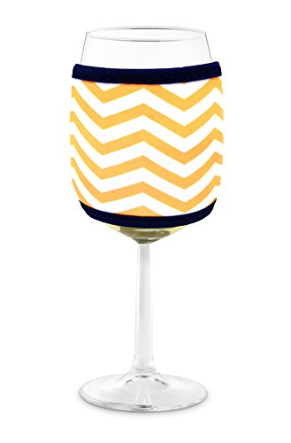 Joe Jacket Wine Glass Koozie, Neoprene Sleeve Insulator, Drink Holder - Yellow Chevron