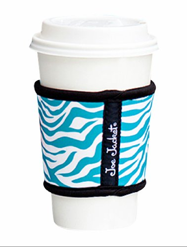 Joe Jacket Neoprene Drink Insulator, Coffee Sleeve, Cup Grip, Turquoise Zebra (many colors avail.)