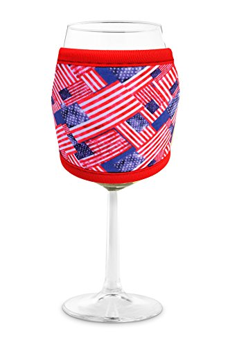 Joe Jacket Wine Glass Insulator, Neoprene Sleeve Drink Holder - American Pride (many colors avail.)