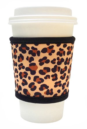 Joe Jacket Neoprene Drink Insulator, Coffee Sleeve, Cup Grip, Leopard (many colors avail.)