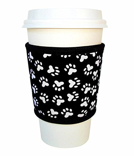 Joe Jacket Neoprene Drink Insulator, Coffee Sleeve, Cup Grip, Paw Print (many colors avail.)