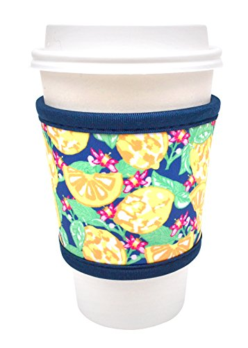 Joe Jacket Drink Insulator, Coffee Sleeve, Cup Grip, Lemons (many colors avail.)