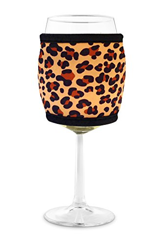 Joe Jacket Wine Glass Insulator, Neoprene Sleeve Drink Holder - Leopard (many colors avail.)