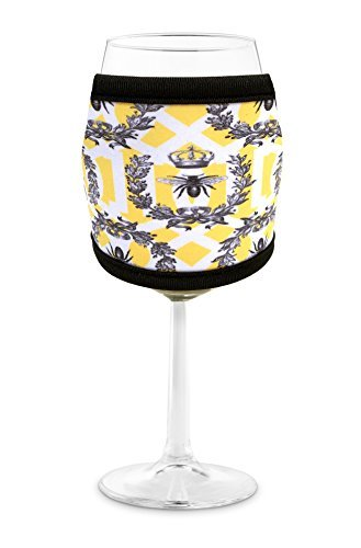 Joe Jacket Wine Glass Insulator, Neoprene Sleeve Drink Holder - Queen Bee (many colors avail.)