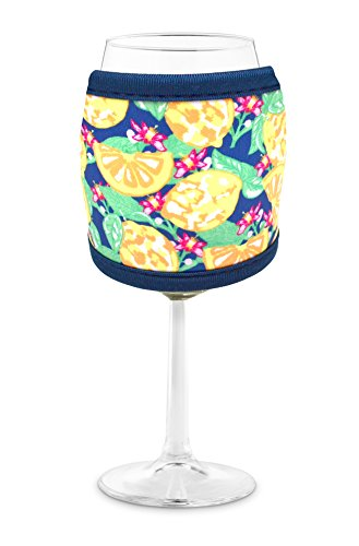 Joe Jacket Wine Glass Insulator, Neoprene Sleeve Drink Holder - Lemons (many colors avail.)