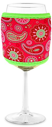 Joe Jacket Wine Glass Insulator, Neoprene Sleeve Drink Holder - Pink Paisley (many colors avail.)