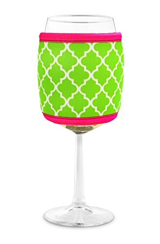 Joe Jacket Wine Glass Insulator, Neoprene Sleeve Drink Holder - Lime Moroccan Tile (many colors avai