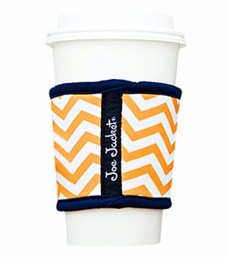 Joe Jacket Neoprene Drink Insulator, Coffee Sleeve, Cup Grip, Yellow Chevron (many colors avail.)