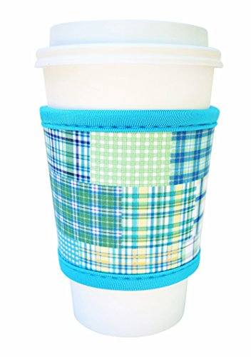 Joe Jacket Neoprene Drink Insulator, Coffee Sleeve, Cup Grip, Blue Plaid (many colors avail.)