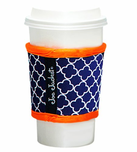 Joe Jacket Neoprene Drink Insulator, Coffee Sleeve, Cup Grip, Navy Quatrefoil (many colors avail.)