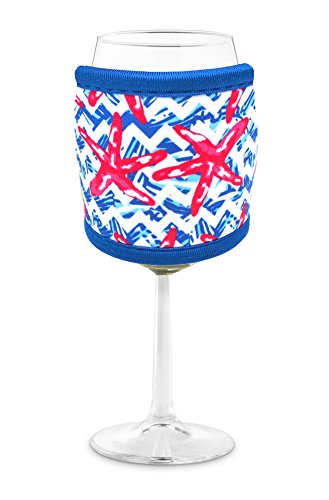 Joe Jacket Wine Glass Insulator, Neoprene Sleeve Drink Holder - Nautical Starfish (many colors avail