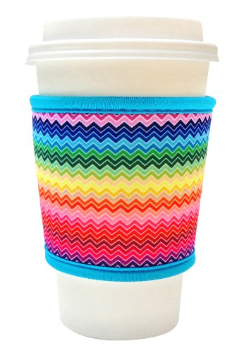 Joe Jacket Neoprene Drink Insulator, Coffee Sleeve, Cup Grip, Rainbow Chevron (many colors avail.)