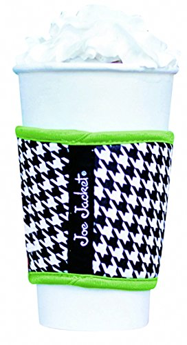 Joe Jacket Neoprene Drink Insulator, Coffee Sleeve, Cup Grip (Black Houndstooth)