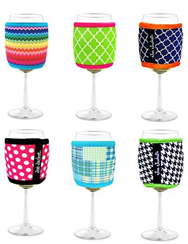 Joe Jacket Neoprene Wine Glass Insulator Gift Pack Sleeves, 6-pack