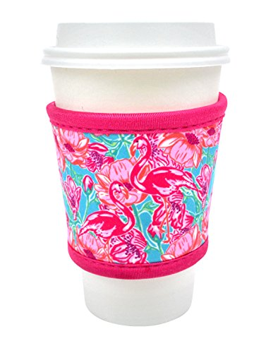 Joe Jacket Drink Insulator, Coffee Sleeve, Cup Grip, Flamingos (many colors avail.)