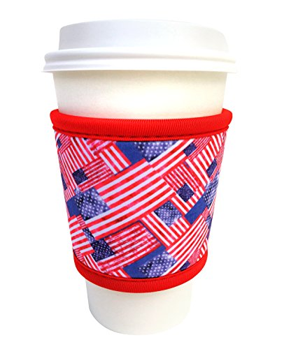 Joe Jacket Neoprene Drink Insulator, Coffee Sleeve, Cup Grip, Pride of America (many colors avail.)
