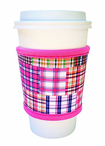Joe Jacket Neoprene Drink Insulator, Coffee Sleeve, Cup Grip, Pink Plaid (many colors avail.)